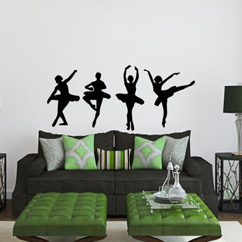 Wall Decals 4 Girls Ballerinas Dance Ballet Studio Sport People Home Vinyl Decal Sticker Kids Nursery Baby Room Decor kk144
