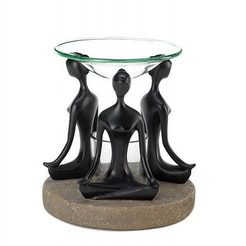 Yoga Lotus Pose Oil Warmer with 1 Tea Light and Choice of Oil