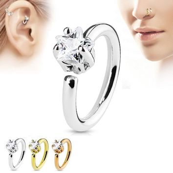 Fashion crystal thin star unique nose ring women rhinestone stainless steel  fake septum nose hoop rings body piercing jewelry