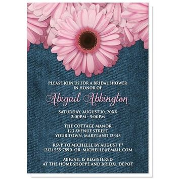 Rustic Pink Daisy Denim Bridal Shower Invitations for only $1.95