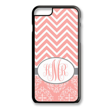 Coral Damask Chevron Monogram Iphone 6/6S Case Custom Cover