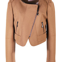 Anomalous Zip Dark Camel Jacket [NCSOX0521] - $150.99 :