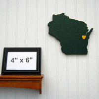 "Green Bay Packers ""State Heart"" wall art, handcrafted wood featuring official team colors"