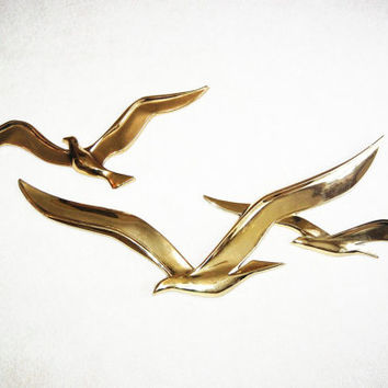 Vintage 70s Abstract Syroco Birds in Flight Wall Décor Eames Jere Sculpture LARGE Set of 2 Seagulls Nautical Beach Modern Wall Art