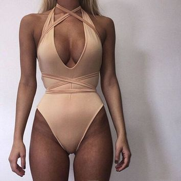 Deep V Strappy Cross One Piece Swimsuit Swimwear Pure white holes show thin
