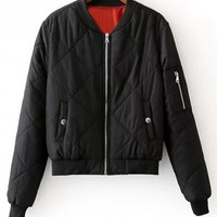 Zip Up Padded Bomber Jacket