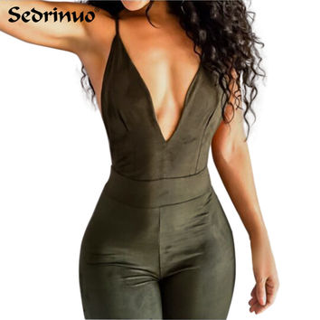 2017 Summer Women Party Bodycon Jumpsuit Deep V neck Sexy Cross back strappy bodysuit overalls bandage backless romper green