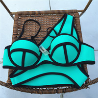 Fashion Women Push Up Neoprene Bikini Set Neon Neoprene Swimwear Underwire Swimsuit