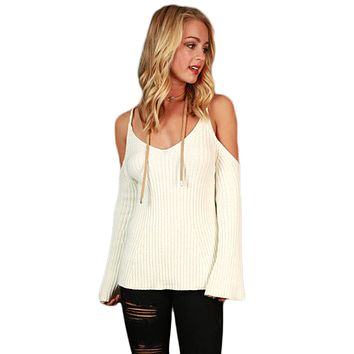 Black Cold Shoulder Bell Sleeve Sweater