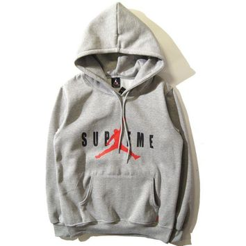 Supreme & Jordan Fall and winter cotton fleece hooded hoodie sweater Gray