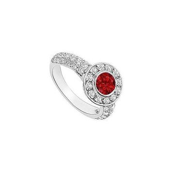 Ruby and Diamond Halo Engagement Ring : 14K White Gold - 2.25 CT TGW