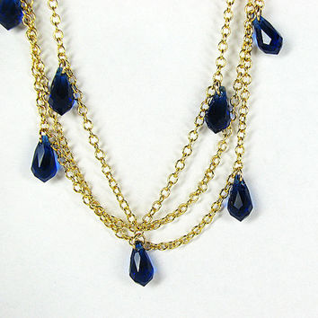 Multistrand boho crystal necklace Cobalt blue beaded necklace Multi strand gold chain necklace Beaded jewelry Mothers Day