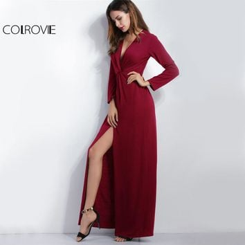 COLROVIE Deep V Neck Slit Maxi Dress Draped Knot Front Women Burgundy Party Club Dress Fall Fashion Sexy Long Sleeve Dress