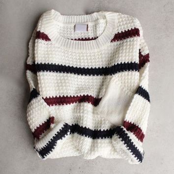 chunky oversized stripe knit boyfriend sweater - ivory