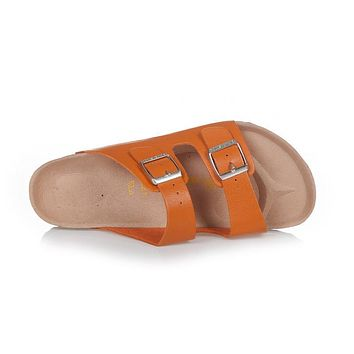 Birkenstock Arizona Sandals Top-layer-leather Orange-red - Ready Stock