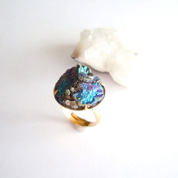 Peacock Ore Ring - Raw Stone Cluster Ring- Pyrite - Statement Ring - Mineral Jewelry