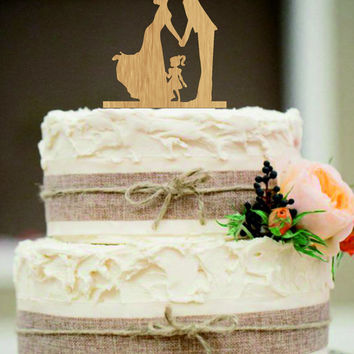 family Wedding Cake Topper,Bride and Groom with little girl silhouette,Unique wedding cake topper,initial wedding cake topper,anniversary