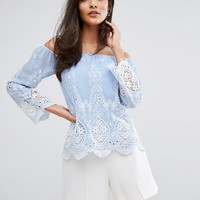 Lipsy Off Shoulder Top In Embroidered Cutwork Lace at asos.com
