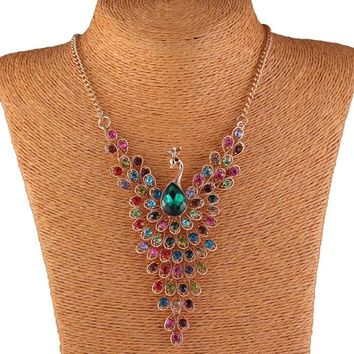 Rhinestone Gem Peacock Necklace Pendant Women Jewelry