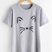 Cat Print Heathered Knit TeeFor Women-romwe