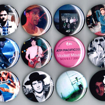 "Modest Mouse One and a Half Inch Pin Back Pinback Button Badge 1.5"" Isaac Brock Eric Judy Jeremiah Green Set of 12 Twelve"