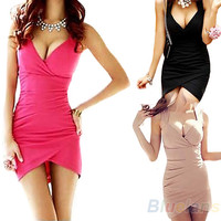 New Designed Sexy Womens Dresses Deep V-Neck Low Cut Sleeveless Slim Cocktail Night Club Party Mini Dress 1NEK
