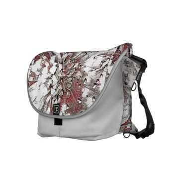 Stylish Grey Coral And Black Splash Abstract Messenger Bag