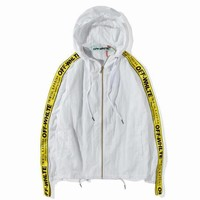 hcxx UA replica OFF-WHITE Windbreaker jacket with yellow lace by sleeves