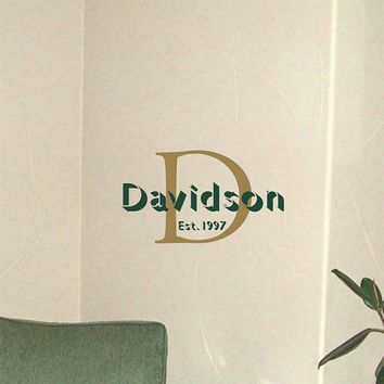 Personalized Name and Initial Monogram Wall Decal Vinyl Wall Art Sticker