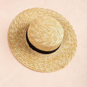 Kenna Wide Brim Straw Boater Hat