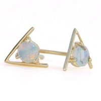Catbird :: Wwake :: Large Triangle Opal Earrings