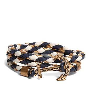 Kiel James Patrick Navy Leather Wrap Bracelet - Brooks Brothers