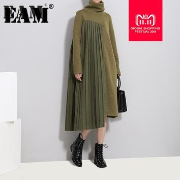 [EAM] 2018 New autumn winter High Collar Long Sleeve Solid Color Army Green Pleated Split Joint Dress Women Fashion Tide JD371