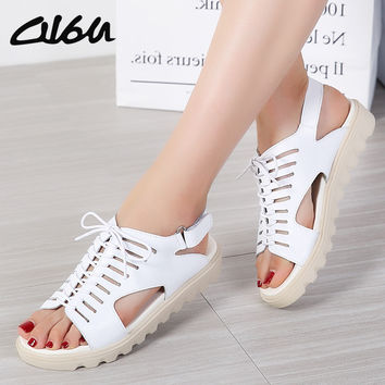 O16U Women Sandals Shoes Flats Genuine Leather Lace up Peep Toe Ladies Low Heels Sandals Summer Shoes gladiator sandals Beach