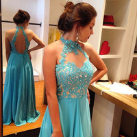 High Neck Halter Blue Applique Prom Dresses