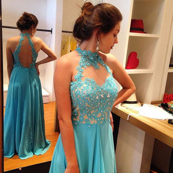 High Neck Halter Backless  Prom Dresses
