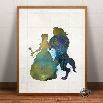 Beauty and the Beast Print Watercolor, Disney Poster, Art, Illustration, Watercolour, Giclee Wall, Kid Artwork, Cartoon, Fine, Home Decor