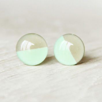 MR. SANDMAN - Stud Earrings Mint and Grey - Minty Soft Grey Earrings - Two Tone Studs - Small Earrings - Mint Earrings by Ear Sugar