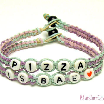 Pastel Pizza is Bae Bracelets, Set of Two, Macrame Hemp Jewelry for Pizza Lovers