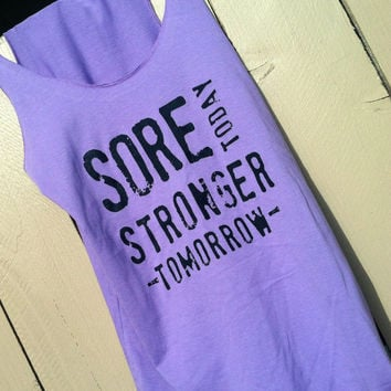Purple.Cotton. Flowy Racerback Tank. SMALL. Sore Today