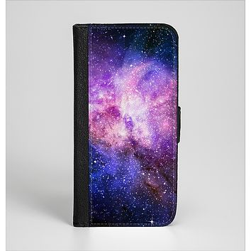 The Vibrant Purple and Blue Nebula Ink-Fuzed Leather Folding Wallet Case for the iPhone 6/6s, 6/6s Plus, 5/5s and 5c