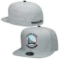 Golden State Warriors Mitchell & Ness Foil High Crown Fitted Hat – Gray