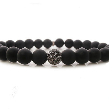 Man's Matte Black Onyx and Genuine Sterling Silver Bracelet, Man's 8mm Matte Black Onyx GemstoneBead and Sterling Silver Bead Bracelet