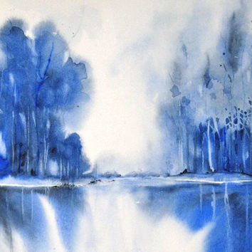 Blue Painting Landscape Abstract Giclee Print Office Wall Decor,Watercolor Painting,Forest Art,Lake Art,Boy Room,Monochromatic Print,Him/Man