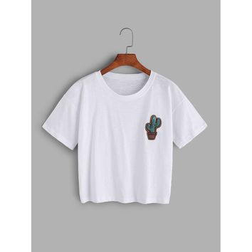Cactus Embroidered T-shirt WHITE