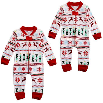 New Toddler Baby Boy Girl Long Zipper Reindeer Xmas Romper Infant Babies Jumpsuit Sleep-suit Pajamas Pjs Christmas Clothing