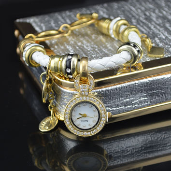 Rhinestone Ladies Creative Watch Diamonds Pendant Bracelet Watch [6271097094]