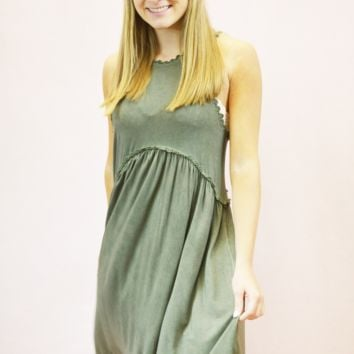 laced babydoll dress - olive