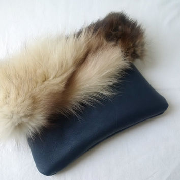 fur and leather clutch bag,recycled, fur clutch, leather clutch, envelope foldover clutch,fur pouch,leather pouch,viking fur pouch,furry bag