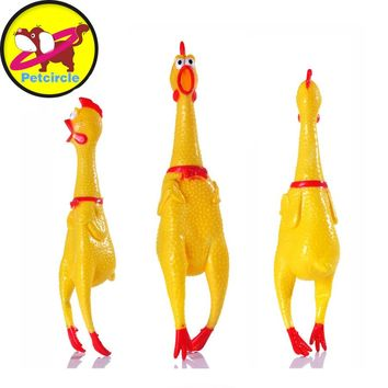 Funny Dog Toy Rooster Crows Squeak Rubber Chicken Toy